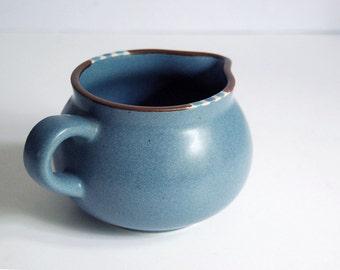 Vintage Ceramic Creamer, Dansk China Mesa Sky Blue Southwestern Pottery 1980s Syrup Pitcher, Serving Collectibles Rustic Decor Gray Blue