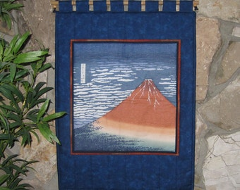 Hokusai Red Mount Fuji Quilted Japanese Wall Hanging