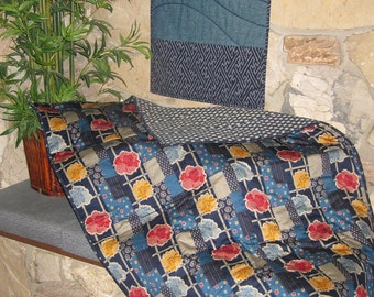 Quilted Lap or Sofa Blanket Floral Patchwork Look Japanese Asian Design Blues Navy