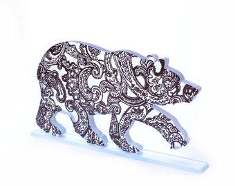 Paisley Bear Glass Sculpture Decoration Custom Pattern