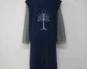 Medieval Knights Surcoat Tabard Tunic with Embroidered Crest Aragorn LOTR Inspired White Tree of Gondor