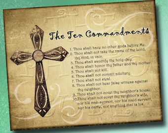 The Ten Commandments- Wall Art Decor- 8x10 -Christian Statement-Great Gift- Printable JPG Digital File- Instant Download -New Lower Price