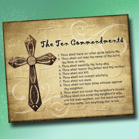 The Ten Commandments- Wall Art Decor- 8x10 -Christian Statement ...