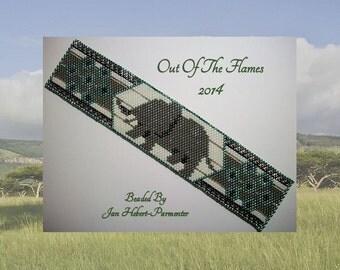 Bead PATTERN  Vanishing Herds- Elephant Cuff Bracelet Peyote or Brick Stitch