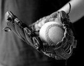 Baseball photo, boys room decor, baseball art, baseball glove art, black and white baseball photo, sports art, gym art, sports decor