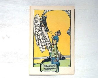 Sandal Wood Necklace - 1903 Book Plate Children's Book - The Golden Rod Fairy Book - Sandal Wood Necklace