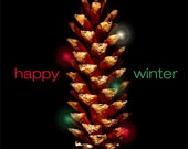 Happy Winter Pine Cone Greeting Card 5 x 7 inches