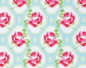 Tanya Whelan Sugar Hill Rose Trellis in Blue / pwtw046-blue quilt cotton fabric Sold by the fat quarter or half yard