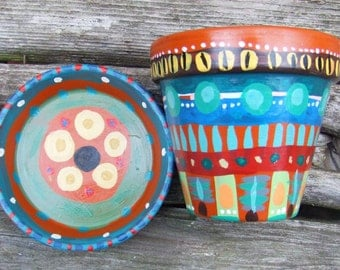 Hand Painted Terracotta Clay Plant Pot and Saucer - Unique Garden Folk Art Planter - Colorful Charming Little Jewels