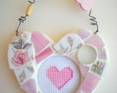 Heart Mosaic Wallhanging with Cross Stitch