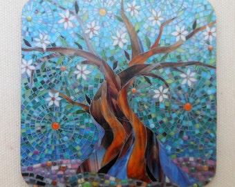 COASTER Tree of Life Coaster - Tree Mosaic Art - Tree Coaster - Drink Coasters - Cork Coaster - New Home Gift - Blue Coaster - Gift for Him