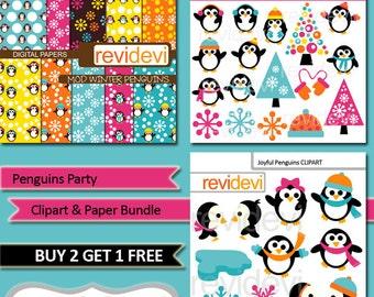 Panguins clipart sale bundle / commercial use clip art, digital papers / winter penguin, snowflakes, digital download