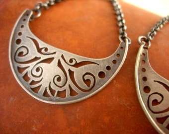 Sterling Silver Hand-cut Crescent Earrings.