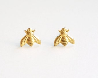 Tiny Brass Gold Bee Stud Earrings - Bridesmaid gift  Minimal Jewelry Stainless Steel Posts or Sterling Silver Posts