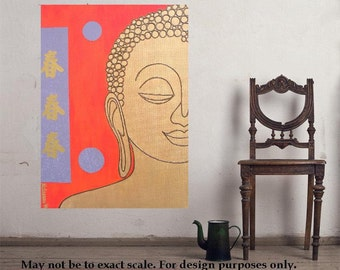 "Buddha 12... original painting, 11.8x15.7""/30 x 40 cm, acrylic, collage, canvas, religion, asia, culture, tradition"