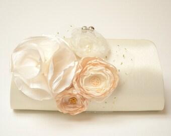 Shabby Chic Bridal Clutch or Bridesmaid Clutch - Ivory Clutch - Ivory Cream & Champagne Flower Blossoms - Medium Size Bouquet Clutch