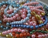 Destash Large Lot of Plastic Pearls and Beads 1lb 6oz