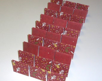 Christmas Red Santa Music 30 Mini Cards - blank for thank you notes