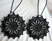 Black Lace Gothic Filigree Dangle Earrings Bohemian Jewelry