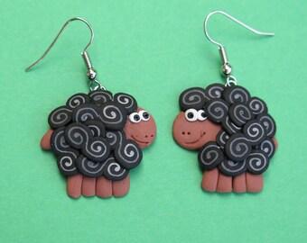 Black Sheep dangly earrings