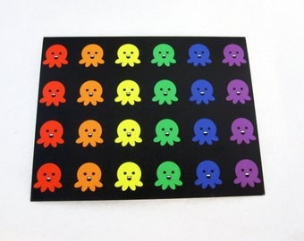 Blank Rainbow Octopus Pattern Note Card