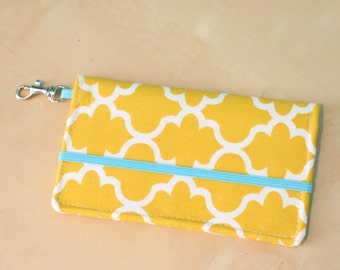 Yellow Moroccan Cell Phone Wallet - iPhone Wallet Case- Yellow and White Trellis Print - EVO, Galaxy, iphone 5 Phone Case
