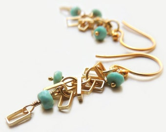 Del Mar Earrings with Sleeping Beauty Turquoise and Matte Gold Geometric Modern Summer Fashion