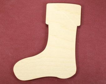 Stocking Shape Unfinished Wood Laser Cut Shapes Crafts Variety of Sizes