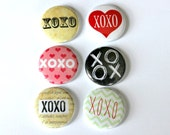 6 One Inch Love, Romance XOXO- Pinback, Flair, Hollow Back, Flat Back Button