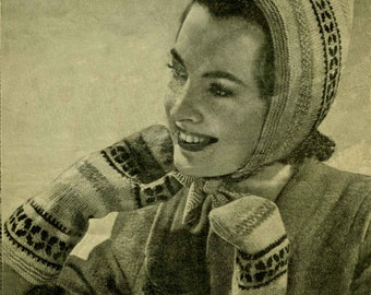 Vintage Ladies Hood and Mitts, Knitting Pattern, 1950 (PDF) Pattern, Bestway 968