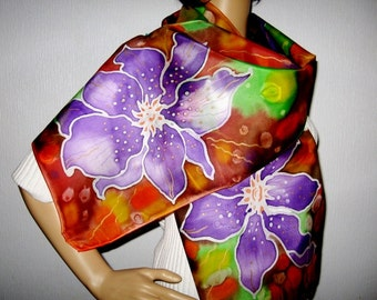 Hand Painted SILK SCARF Floral design Purple Browne Women