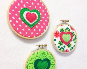 Fabric Wall Art - Funky - Bubbles of Love - Embroidery Hoop Hearts