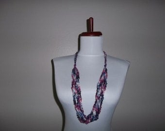 Crocheted Ladder Yarn Necklace 6 Strand Jazzi 15 Blueberry Parait with Silver Metallic Yarn Adjustable Length