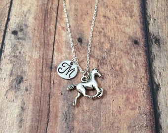 Horse initial necklace - horse jewelry, horse jewelry, gift for horse lover, equestrian jewelry, western jewelry, silver horse necklace