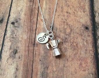 Espresso pot initial necklace - coffee pot necklace, gift for coffee lover, espresso necklace, coffee jewelry, food jewelry, coffee necklace