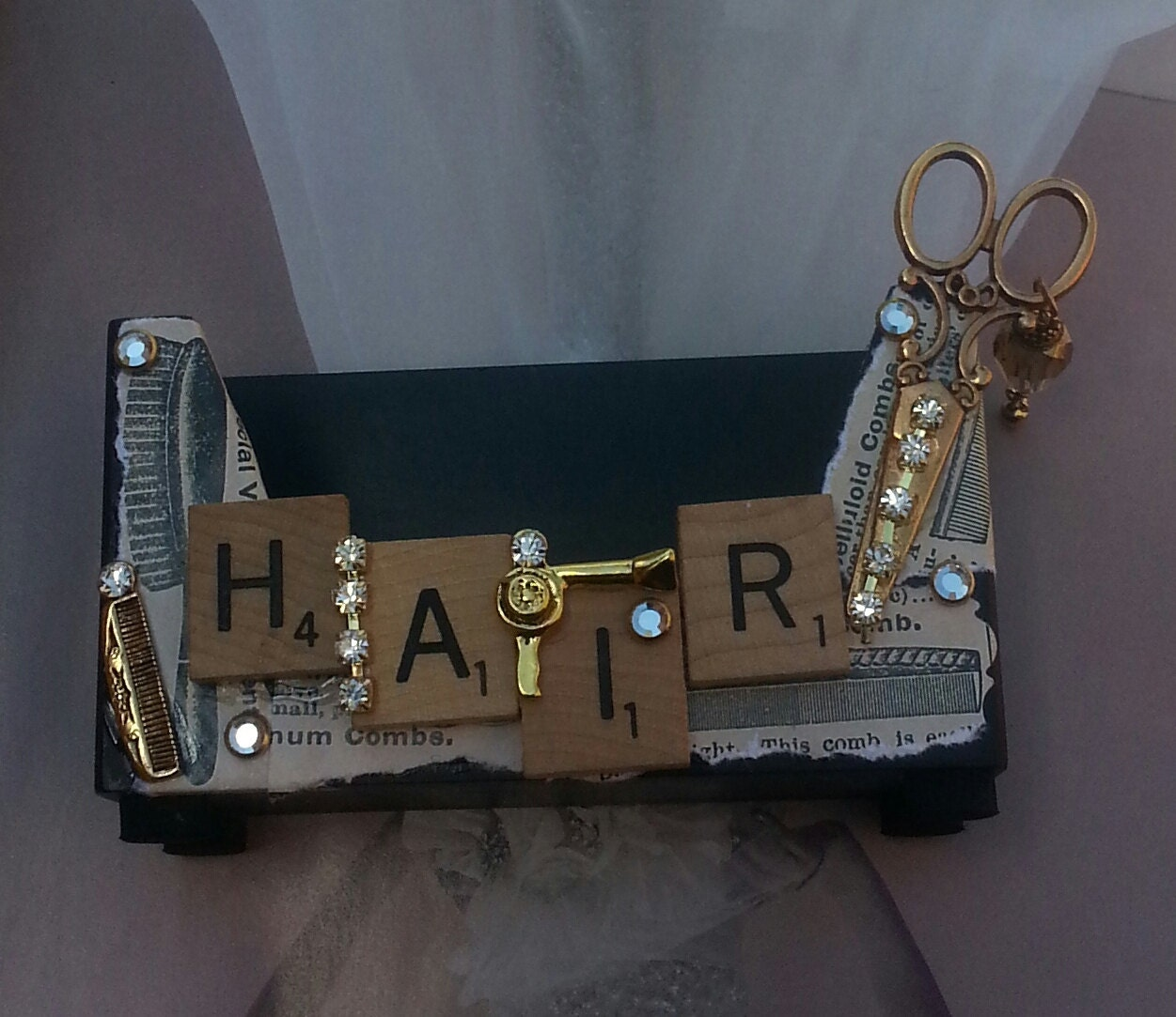 Vintage Hair Business Card Holder Scissors And b Gypsy