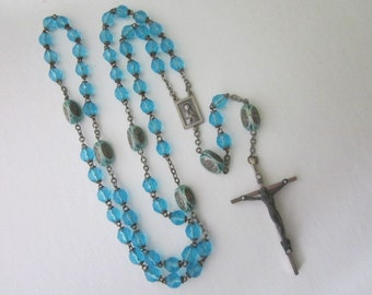 Vintage Glass Bead Rosary blue glass bead rosary
