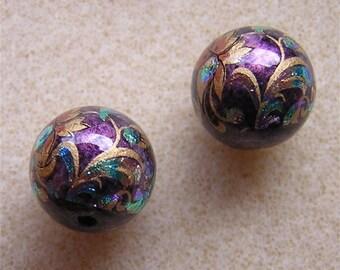 New Design Pair Japanese TENSHA Beads PEACOCK PURPLE 12mm