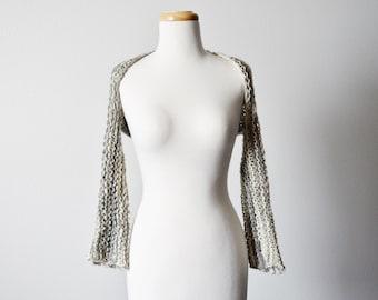 Newsey Shrug - Hand Knit Shrug - Semi Loose Knit Loose Weave Shrug in Cream & Charcoal Grey - ENFOLDEN