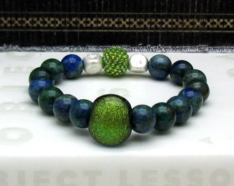 Lapis Malachite Modern Beaded Bracelet, Cobalt and Green, Dichroic Glass, 2 in 1 Double Focal, for Her Under 225