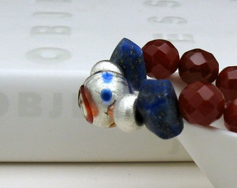 Lapis Lazuli and Carnelian Bohochic Luxe Beaded Bracelet, Boutique Wearable Art, For Her Under 400
