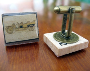 Scrabble Tile Cufflinks Vintage Cars