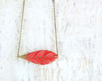 red Leaf necklace feather boho bohemian jewelry