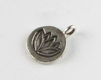 Stamped Lotus Flower Charm Blossom Bud Hill Tribe Fine Silver Flower Charm Pendant 13mm Across (1 piece)
