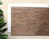 Vintage Type Real Wooden Wedding Invitation