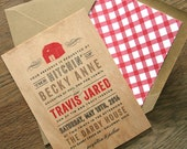 Rustic Barn Real Wooden Wedding Invitation