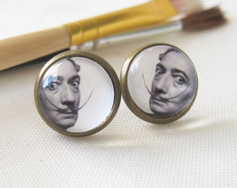 Salvador Dali Antique Brass Post Earrings