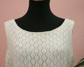 Ladies Ivory Beaded Sleeveless Top Circa 1950's Appears To Be XL