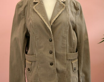 Taupe Blazer, Sporty Jacket, Chocolate Brown Striped, Belted Blazer, Women's Blazer, Appears to be Large