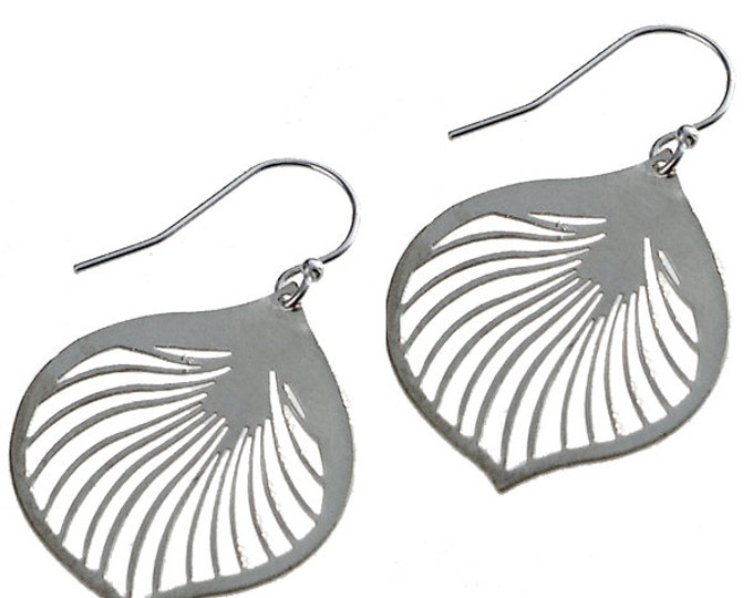Enameled Ginkgo Leaf Earrings in Silver